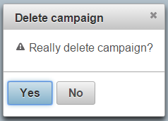 PrimeFaces confirmation dialog box that appears when campaign is deleted.